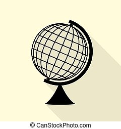 Earth Globe sign. Black icon with flat style shadow path on...