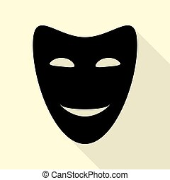 Comedy theatrical masks. Black icon with flat style shadow...