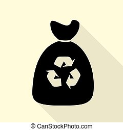 Trash bag icon. Black icon with flat style shadow path on...