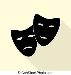 Theater icon with happy and sad masks. Black icon with flat...