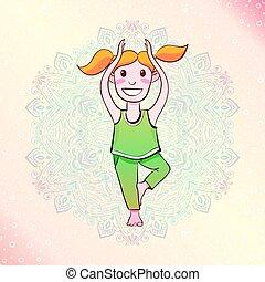 Yogi Girl standing in a tree pose.