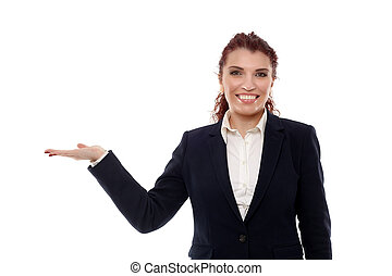 Businesswoman presenting an invisible product