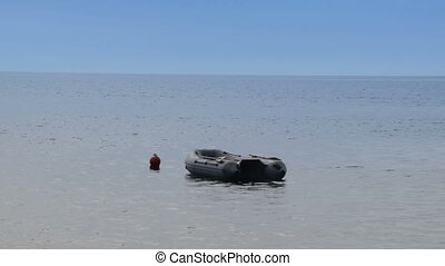the moored rubber boat