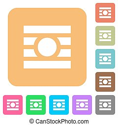 Text wrap around objects rounded square flat icons - Text...