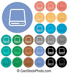 Hard disk drive round flat multi colored icons - Hard disk...
