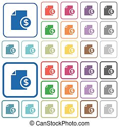 Dollar financial report outlined flat color icons - Dollar...