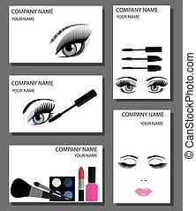make up business cards set - vector make up cards