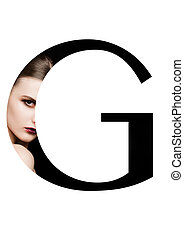 G letter beauty makeup girl creative fashion font on black