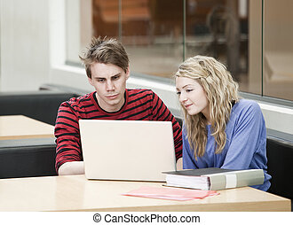 Couple in front of a computer