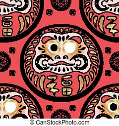 Daruma doll seamless pattern. Texture for scrapbooking,...