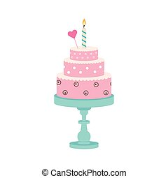 birthday cake with candle and heart