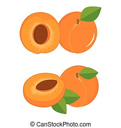 apricots colorful set - ripe sliced and whole apricots on a...
