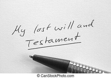 vontade, meu, último, Testamento, Manuscrito