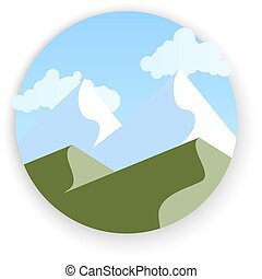 Vector mountains landscape, abstract panoramic view, vector illustration