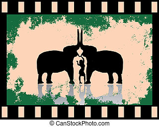young women with two elephants