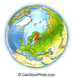 Finland on isolated globe - Finland highlighted in red on 3D...