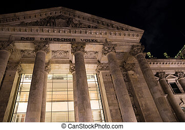 Nighttime close-up of famous Reichstag building in Berlin,...