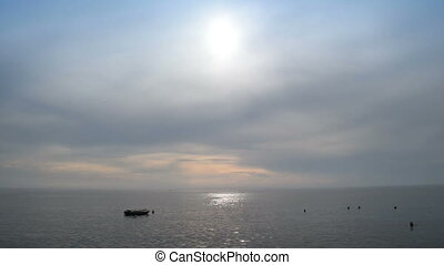 boat in calm sea water,accelerated footage