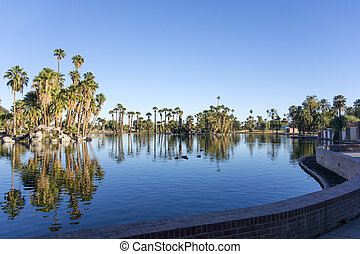 Encanto Park Lake, Phoenix downtown, AZ