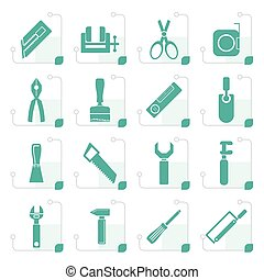 Stylized Building and Construction Tools icons - Vector Icon...