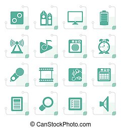 Stylized Mobile phone performance, internet and office icons