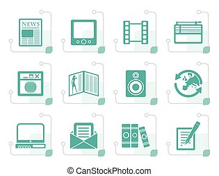 Stylized Media and information icons