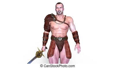 Walking gladiator - 3D CG rendering of a walking gladiator.
