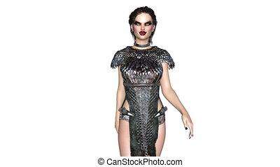 Walking female vampire - 3D CG rendering of a walking female...
