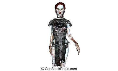 Walking female zombie - 3D CG rendering of a walking female...