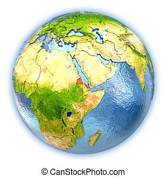 Eritrea on isolated globe - Eritrea highlighted in red on 3D...
