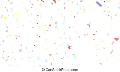 Confetti shapes falling slow motion DOF loop