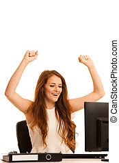 business success - woman gestures victori with her arms up...
