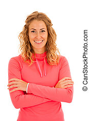 Sporty woman posing isolated over white background