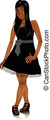 MixedWomanBlackBowDress - Vector Illustration of Mixed woman...