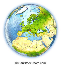 Slovenia on isolated globe - Slovenia highlighted in red on...