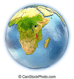 Malawi on isolated globe - Malawi highlighted in red on 3D...