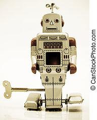 robots - retro robot in retro color