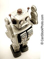 robots - retro robot toy in retro color