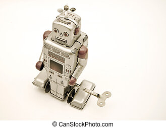 toys - retro robot toy in retro color