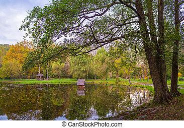 de madera, otoño, parque, nichos, charca