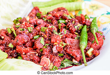 raw minced meat for thai food