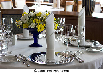 restaurant - Banquet table setting in gourmet restaurant