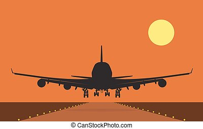 Landing plane over runway at sunset. Flat and solid color