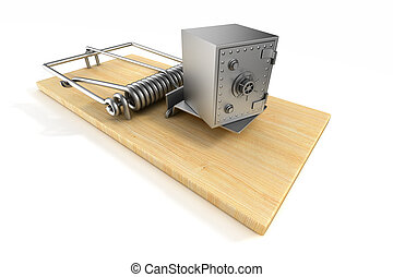 mousetrap and safe on white background. Isolated 3D image