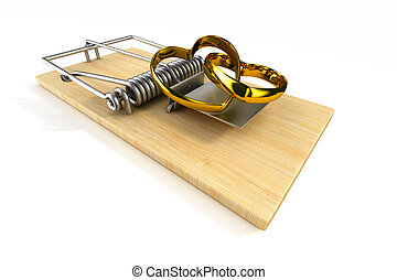 mousetrap with wedding ring on white background. Isolated 3D...