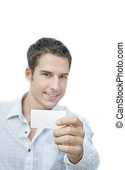 Man showing blank card