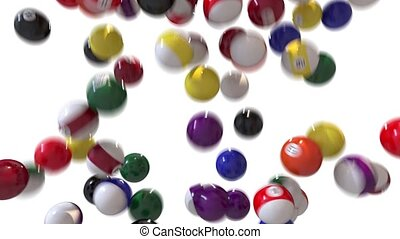 Pool billiards balls fill screen transition composite...