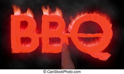 BBQ barbecue hot text brand branding iron flaming heat...