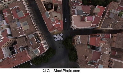 Flying over Serranos Towers in Valencia, Spain - Flying over...