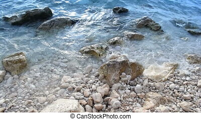 Mix of two shots of rocks in the sea